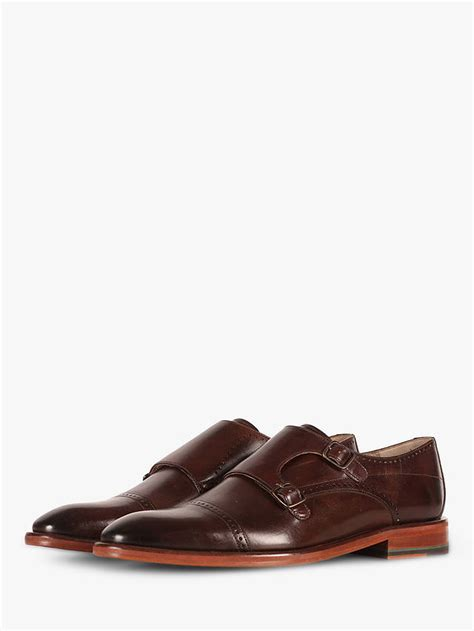 Oliver Sweeney Ackerguill Leather Monk Shoes, Chocolate at