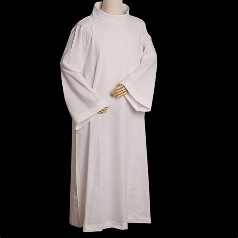 BLESSUME Alb Catholic White Vestments w Roll Collar Solid