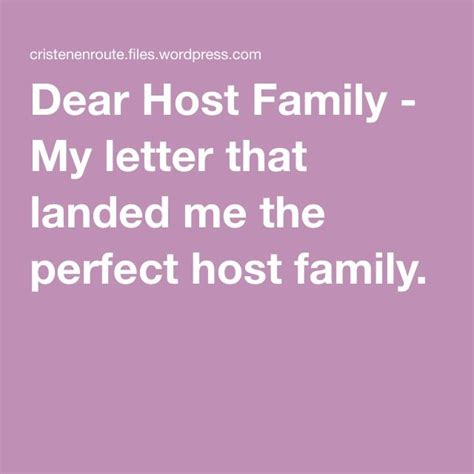 Dear Host Family - My letter that landed me the perfect