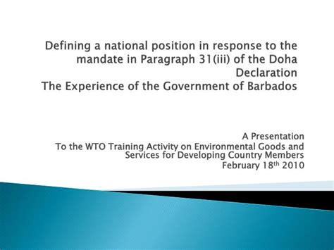 PPT - A Presentation To the WTO Training Activity on