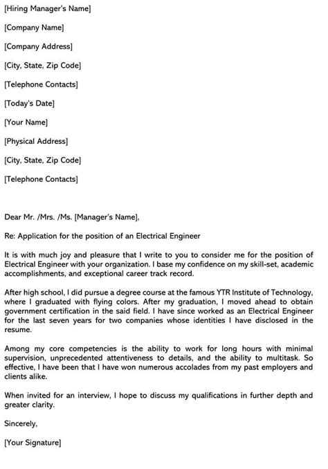 Electrical Engineer Cover Letter (Samples & Email Examples)